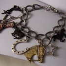 Black Brown Boot Boots Horsehead Shoe Horseshoe Pony Western Cowgirl Horse Stirrups Star Bracelet