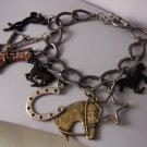 Black Brown Boot Boots Horsehead Shoe Horseshoe Pony Western Cowgirl Horse Stirrups Star Bracelet