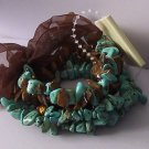 Western Brown Tigers Eye Blue Turquoise Semiprecious Semi Precious Four Strand Bracelet