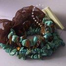 Western Brown Tigers Eye Blue Turquoise Semiprecious Semi Precious Four Strand Bracelet