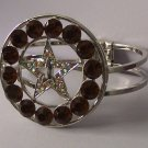 Western Brown Crystal AB Aurora Borealis Texas Lonestar Star Rodeo Shoe Bangle Bracelet