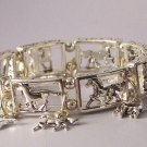Silver Tone Western Horse Pony Mustang Charm Bracelet