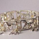 Silver Tone Western Horse Pony Mustang Charm Bracelet
