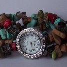 Brown Red Blue Green Black Multicolor Cowgirl Western Semiprecious Semi Precious Turquoise Watch