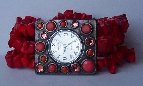 Red Cowgirl Western Semiprecious Semi Precious Turquoise Watch