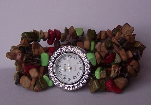 Brown Green Red Multicolor Cowgirl Western Semiprecious Semi Precious Turquoise Watch