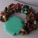 Western Multicolor Religious Cross Brown Blue Turquoise Semiprecious Semi Precious Bracelet