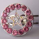 Western Pink Crystal AB Aurora Borealis Texas Lonestar Star Rodeo Shoe Bangle Bracelet