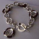 Brown Braided Western Horseshoe Horse Shoe Bracelet