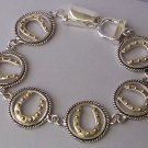Two Tone Gold P Silver Tone Horseshoe Horse Shoe Circle Western Bracelet