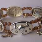 Brown Wagon Texas Star Lonestar Longhorn Bull Steer Cowgirl Western Bangle Bracelet