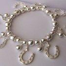 Silver Tone Horseshoe Horse Shoe Western Charm Bracelet