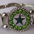 Green Peridot Crystal Texas Lonestar Star Western Cowgirl Horseshoe Horse Bracelet