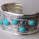 Western Blue Bead Bangle Bracelet