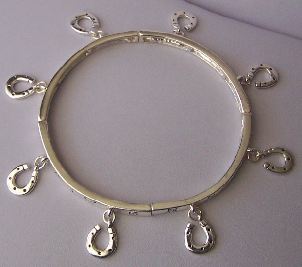 Horseshoe Horse Shoe Charm Bangle Western Bracelet