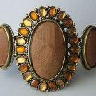 Brown Flower Western Gold Tone Bangle Bracelet