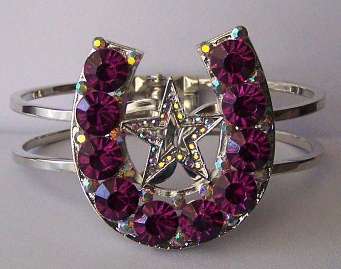Purple Crystal AB Aurora Borealis Texas Lonestar Star Rodeo Horseshoe Horse Shoe Bangle Bracelet