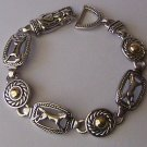 Two Tone Horse Pony Mustang Square Western Bracelet