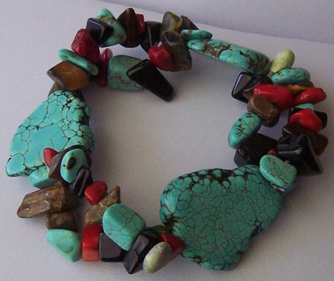 Western Black Blue Brown Red Turquoise Semiprecious Semi Precious Four Strand Bracelet