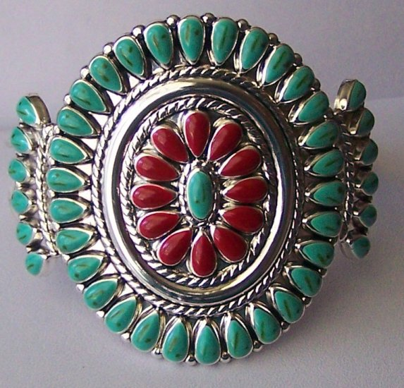 Western South Southwestern Turquoise Red Blue Flower Bangle Bracelet
