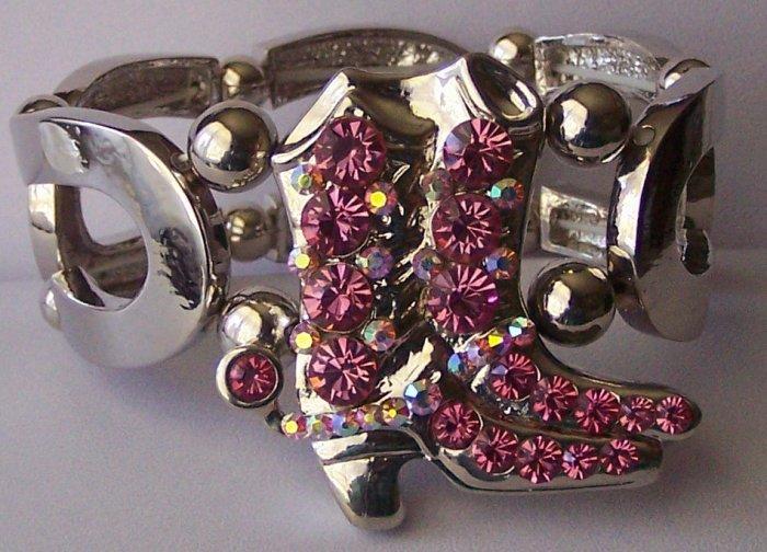 Pink Crystal AB Aurora Borealis Horseshoe Horse Shoe Western Boot Boots Bangle Bracelet