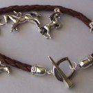 Brown Braided Horse Mustang Pony Western Charm Bracelet
