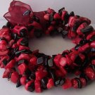 Western Red Black Turquoise Semiprecious Semi Precious Four Strand Bracelet