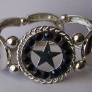 Black Crystal Texas Lonestar Star Western Cowgirl Horseshoe Horse Bracelet
