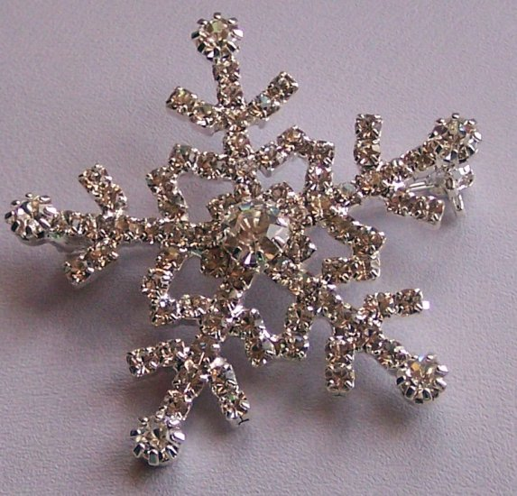 White Clear Crystal Snow Flake Snowflake Brooch