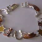 Brown Star Texas Lonestar Boots Cowgirl Hat Horseshoe Horse Shoe Western Bracelet