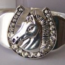 Clear Crystal Horse Head Horseshoe Western Bangle Bracelet