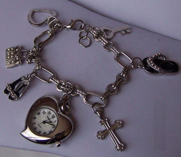 Valentines Day Heart Love Black Handbag Shoes Flip Flop Watch Bracelet