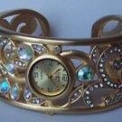 AB Aurora Borealis Gold Tone Bangle Bracelet Watch