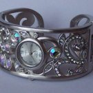 AB Aurora Borealis Silver Tone Bangle Bracelet Watch
