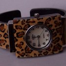 Brown Black Animal Print Leopard Bangle Bracelet Watch