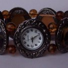 Brown Black Animal Print Leopard Bracelet Watch