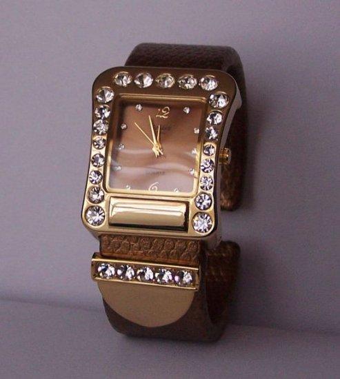 Brown Clear Crystal Cuff Bangle Bracelet Watch