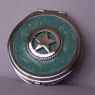 Aqua Teal Texas Lonestar Star Western Compact Mirror