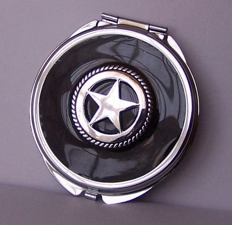 Black Texas Lonestar Star Western Compact Mirror