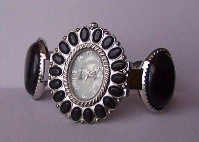 Black Western Flower Southwest Southwestern South Bangle Bracelet Watch