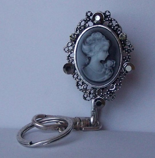 Black Grey Gray Lady Cameo Crystal Finder Key Keychain