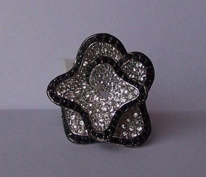 Clear Crystal Black Flower Cocktail Ring Size 8