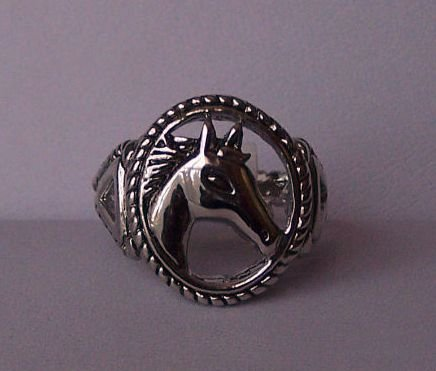 Clear Crystal Western Horse Head Horsehead Pony Ring Size 8