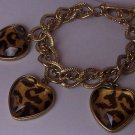 Black Brown Animal Print Heart Love Valentines Day Charm Bracelet