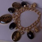 Black Faceted Charm Double Link Bracelet