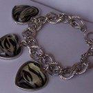 Black White Animal Print Heart Love Valentines Day Charm Bracelet