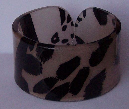 Beige Brown Tan Black Leopard Animal Print Cuff Bangle Bracelet