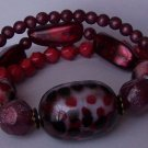 Red Black White Animal Print Triple Row Bracelet