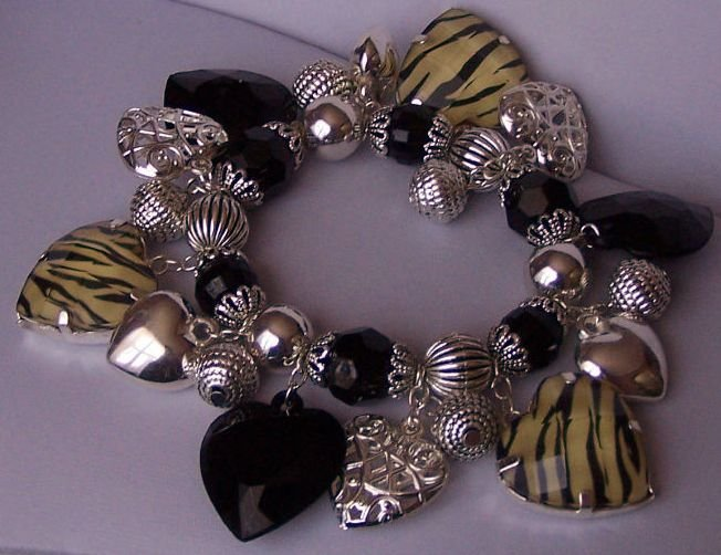 Black White Off White Heart Love Zebra Animal Print Charm Bracelet