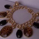 Black Brown Leopard Faceted Charm Striped Double Link Bracelet